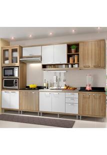 Cozinha Compacta 7 Peças 5834-S17 - Sicília - Multimóveis - Argila Acetinado / Branco Acetinado