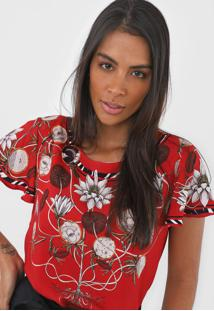 Camiseta Forum Floral Vermelha - Vermelho - Feminino - Viscose - Dafiti