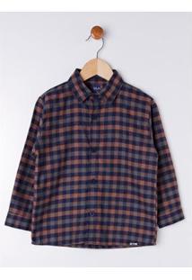 Camisa Xadrez Infantil Dila Masculina - Masculino-Cinza+Laranja