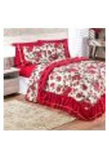 Edredom Queen Vermelho Floral 5 Peças 2,55M X 2,45M Com Lençol De Baixo
