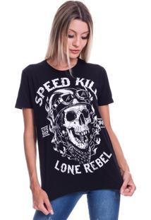 Camiseta Jazz Brasil Speed Kill Preta - Preto - Feminino - Algodã£O - Dafiti