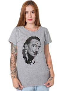 Camiseta Salvador Dali Collage Cinza Stoned - Kanui