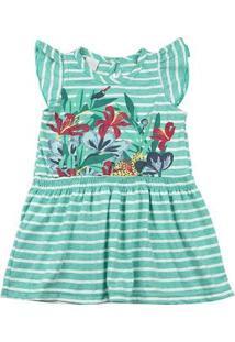 Vestido Malha Listrada Cool Floral - Verde 1