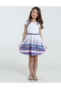 Vestido Infantil Piquet Estampa Floral Marisa