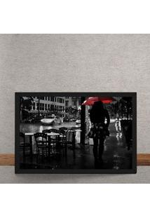 Quadro Decorativo Noite Chuvosa Guarda Chuva Vermelho 25X35