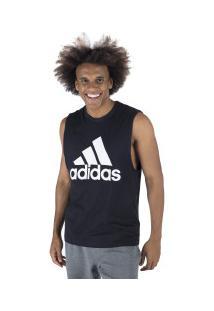 Camiseta Regata Adidas Mh Bos Tank - Masculina - Preto/Branco