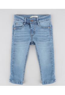 Calça Jeans Infantil Slim Com Bolsos Azul Claro