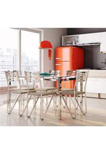 Conjunto De Mesa Com 6 Cadeiras Peggy Cromado E Marrom