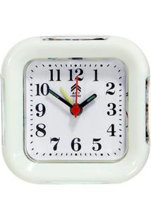 Relógio Despertador Quadrado Branco