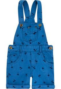 Jardineira Look Jeans Curta Azul