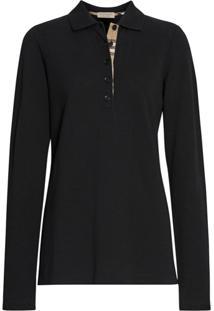 Burberry Long-Sleeve Check Placket Cotton Piqué Polo Shirt - Preto