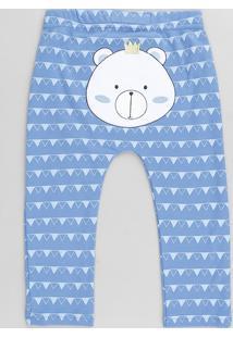 Calça Infantil Urso Estampado Geométrico Azul