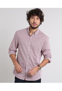 Camisa Masculina Comfort Estampada Xadrez Com Bolso Manga Longa Vinho