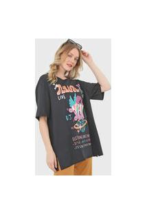 Camiseta Oh, Boy! Oversized Dance Music Preta