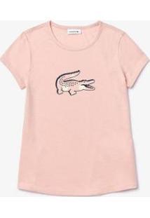 Camiseta Lacoste Regular Fit Feminina - Feminino-Rosa Claro