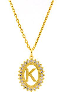 Gargantilha Horus Import Pingente Letra K Banhada Ouro Amarelo 18 K - 1060228