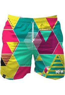 Bermuda Maromba Fight Wear Geometric Com Bolsos Masculina - Masculino-Amarelo