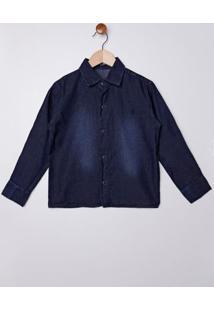 Camisa Jeans Manga Longa Infantil Para Menino - Azul Escuro