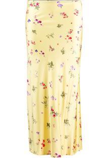 Andamane Saia Bella Com Estampa Floral - Amarelo