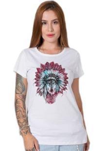 Camiseta Feminina Stoned Indian Wolf - Feminino-Branco