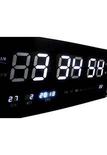 fd465936638 Relogio De Parede Branco Grande De Led Digital Alarme Data (Rel-60)