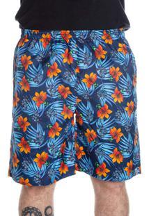 Bermuda California Prime Microfibra Flores Azul