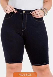 Bermuda Ciclista Chapa Barriga Jeans Escuro