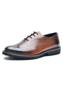 Sapato Oxford Fepo Store Couro Liso Solado Eva Com Cadarço Marrom
