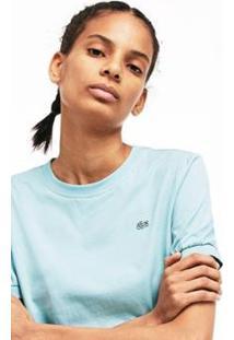 Camiseta Lacoste Live Decote Careca Feminina - Feminino-Azul Claro