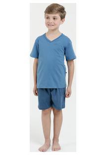 Pijama Infantil Listrado Manga Curta Lupo