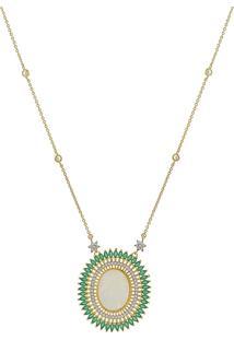 Colar Narcizza Semijoias Com Medalha N.S. Gracas Com Navetes E Zircônia Cristal Esmeralda Ouro