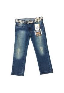 Calça Jeans Bebê Oliver Slim Com Cinto Masculina Azul