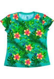 T-Shirt Menina Manga Curta Verde Tropical Verde