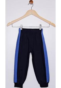 Calça Moletom Com Listras Laterais Infantil Para Menino - Azul Marinho/Azul