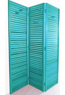 Biombo Madeira Dominoes 3 Asas Stain Azul - 150X3,5X179 Cm
