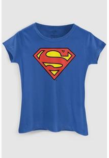 Camiseta Dc Comics Superman Oficial Bandup! - Feminino-Azul
