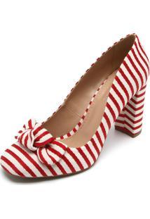 Scarpin Dafiti Shoes Listrado Vermelha 32c670b358375