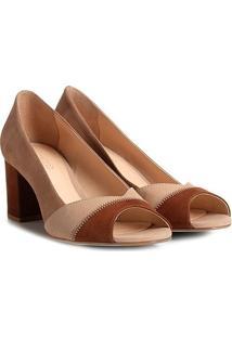 Peep Toe Couro Shoestock Salto Grosso Patchwork - Feminino