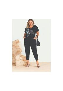 T-Shirt Plus Size Melinde Com Foil Preta