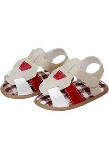 Sandália Confort Sapatinhos Baby Bege, Vermelha E Branca