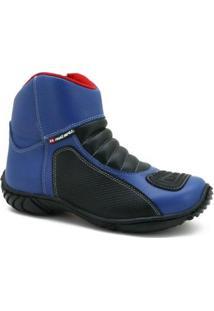 Bota Motociclista Masculina Couro Cano Curto Conforto Casual - Masculino-Azul