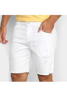 Bermuda Jeans Vide Bula Destroyed Masculino - Masculino-Branco