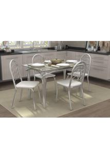 Conjunto Mesa Elba Com 4 Cadeiras Holanda Branco E Cromado Kappesber Crome - Branco - Dafiti