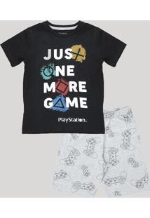 Pijama Infantil Playstation Manga Curta Preto