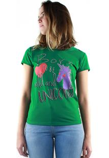 T-Shirt Multi Ponto Denim Estampada Unicorn Verde