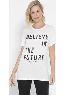 "Camiseta ""Believe In The Future""- Off White & Azul Marincolcci"