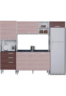 Cozinha Compacta Com Tampo 4 Peças Natália - Poquema - Amendoa / Capuccino