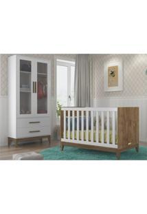 Conjunto Infantil Guarda Roupa Nature Glass E Berço Nature Branco Acetinado Com Eco Wood - Matic