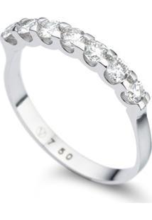 Meia Aliança Ouro Branco E Diamantes