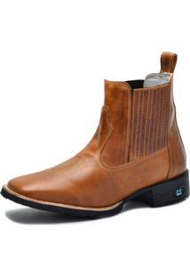 Bota Country Over Boots Bico Quadrado Couro Caramelo